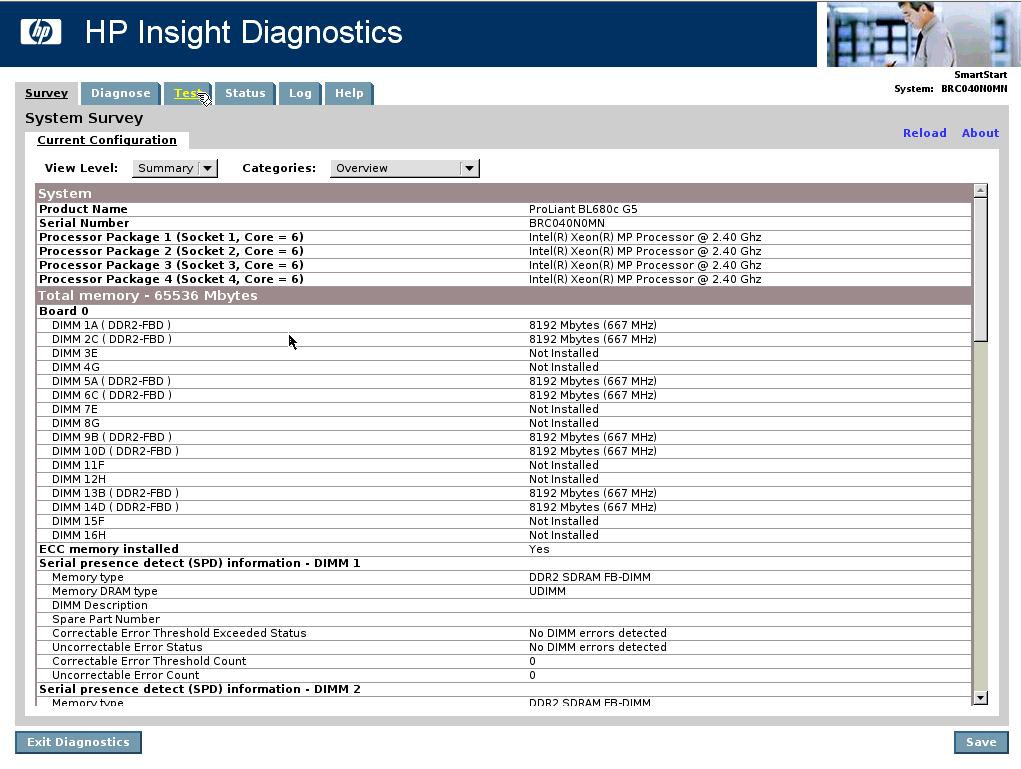 HP Insight Diagnostics Offline – Hardware verification on HP