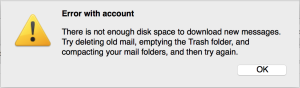 Thunderbird complaining about disk space